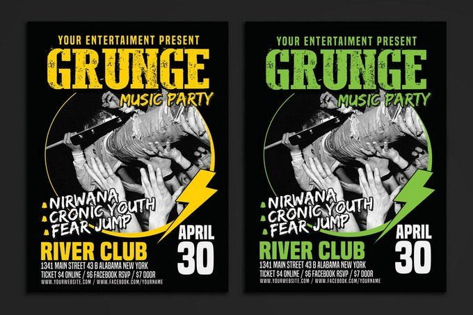 Grunge Music Party Poster Template