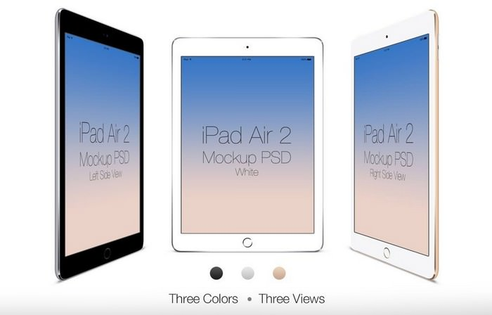 Three Views iPad Air 2 PSD Template