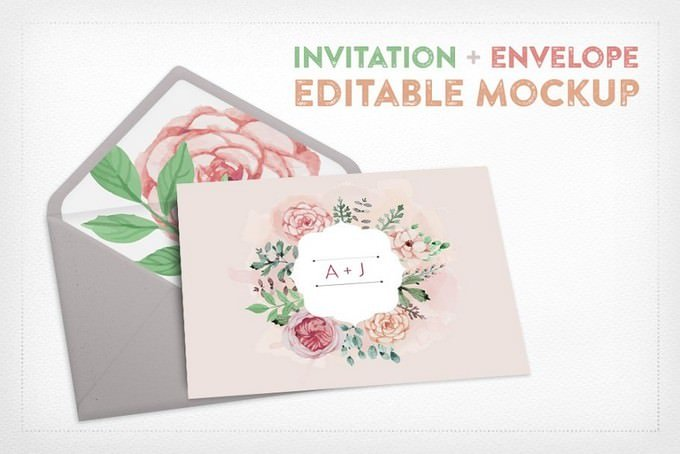 Invitation+Envelope Editable Mockup PSD