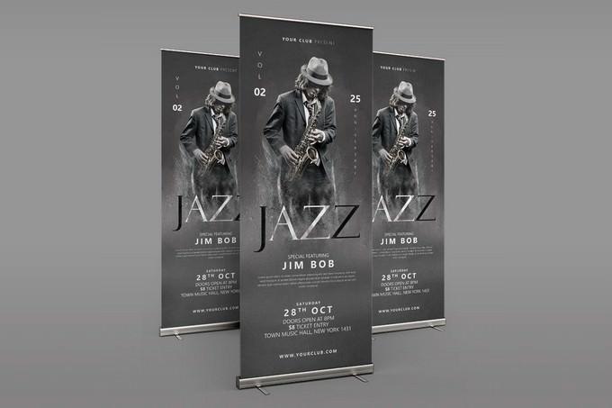 Jazz Roll Up Banner PSD