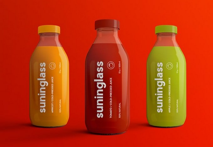 Juice Bottle Packaging Mock-Ups PSD