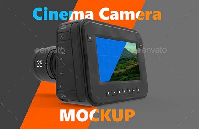 Magic Cinema Camera Mockup PSD