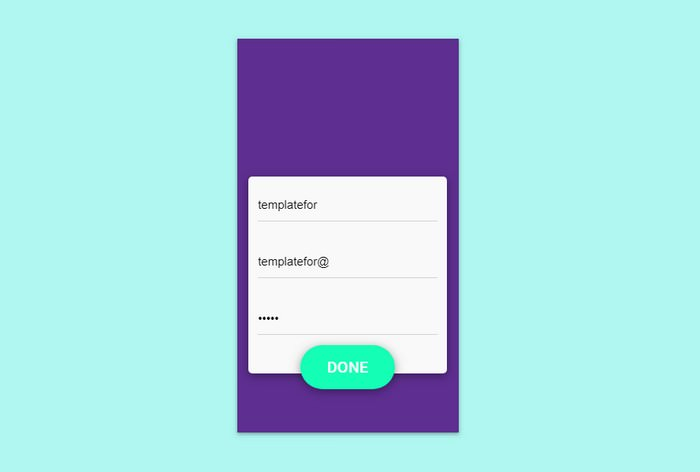 Material Design Signup Interaction
