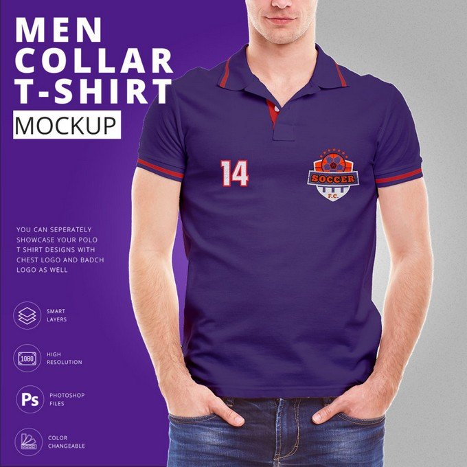 Men Collar T Shirt Mock Up