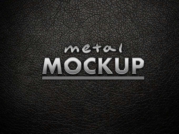 Metal Logo Mockup PSD