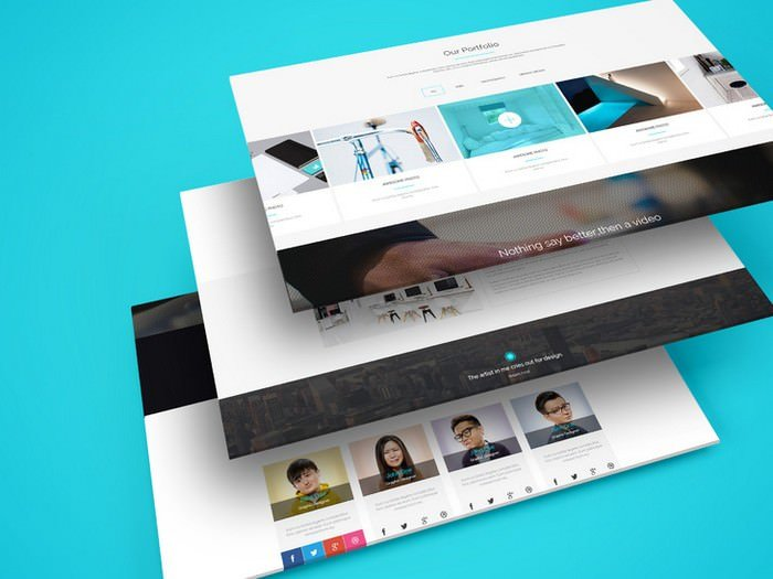 Multiple Web Screens Perspective PSD