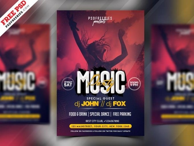 Music Party Invitation Flyer Template