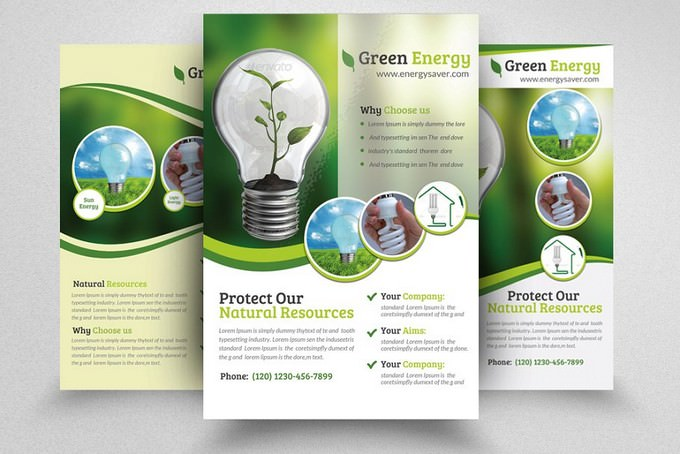 Pack of 3 Green Energy Flyer