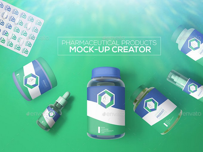 Pharmaceutical Products Mock-up PSD