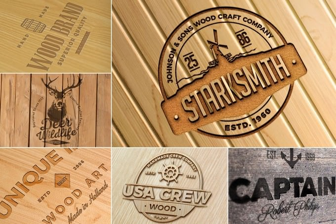 Photo-realistic Wood Craft Logo Mockup PSD