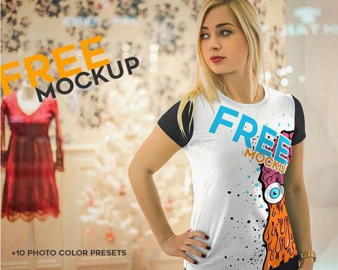 Realistic Free T-Shirt PSD