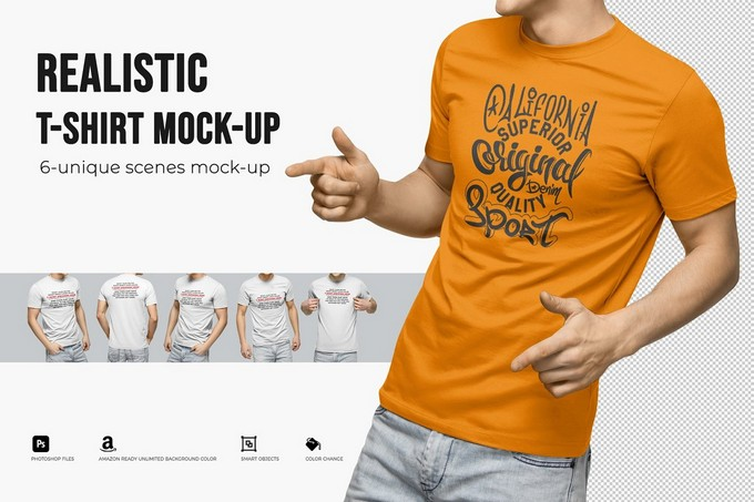 Realistic T-Shirt Mock-Up PSD