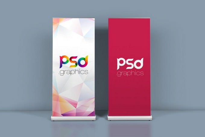 Roll Up Banner Mockup Template PSD