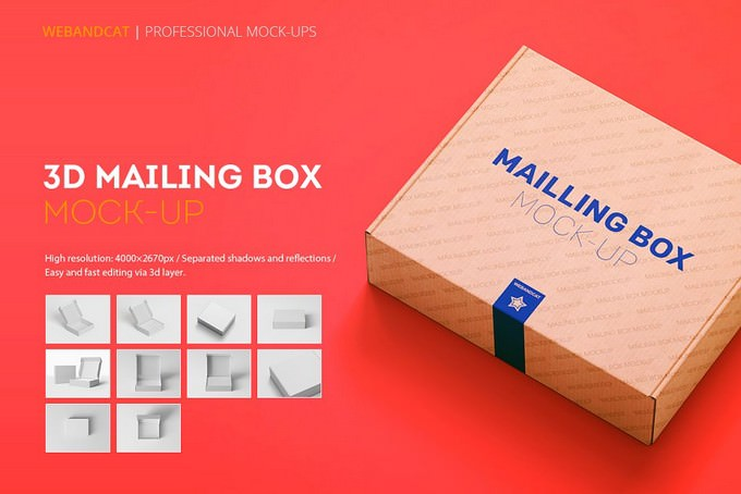 Shipping Mailing Box Product Mock-up