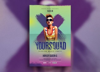 Squad Party Music Flyer Template