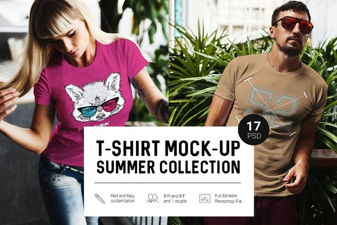 T-Shirt Mock-Up Summer Collection PSD