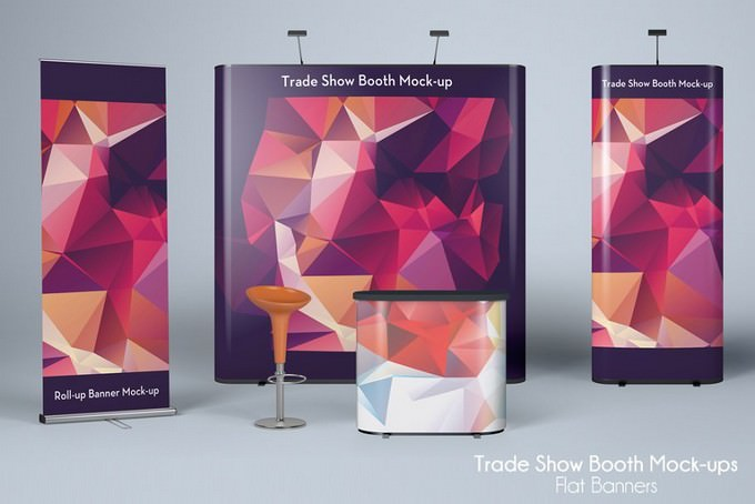 Trade Show Mock-up Flat Banners PSD
