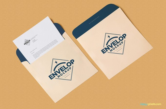Unique Squared Shaped Envelope Mockup