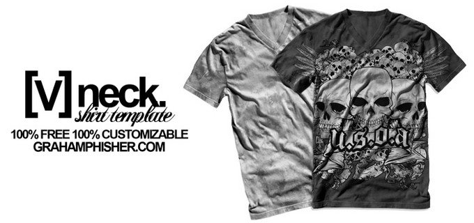 V Neck Shirt Mockup