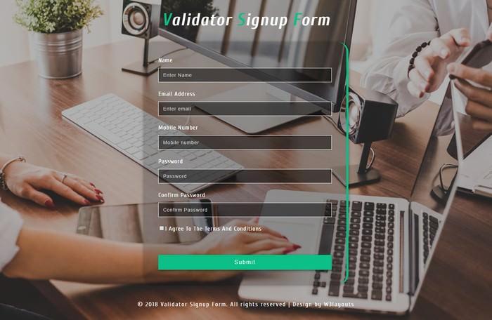 Validator Signup Form Responsive Widget