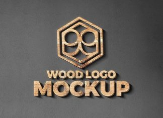 Wood And Metal Cut Logo Mockup