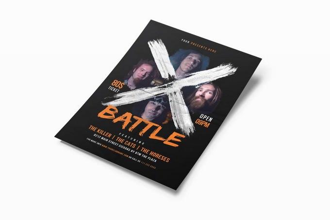 X Battle Music Flyer Template
