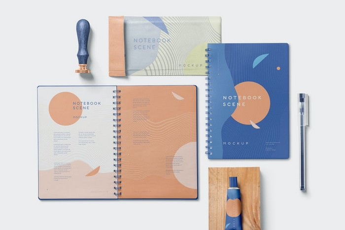 3 Notebook Mockups With Movable Elements
