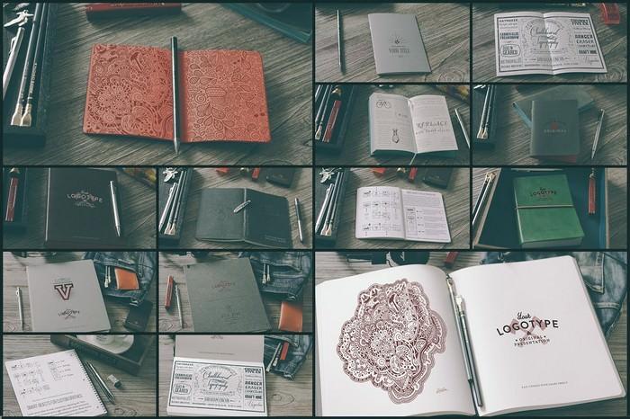 Hipster Style Notebook Mock-ups Set