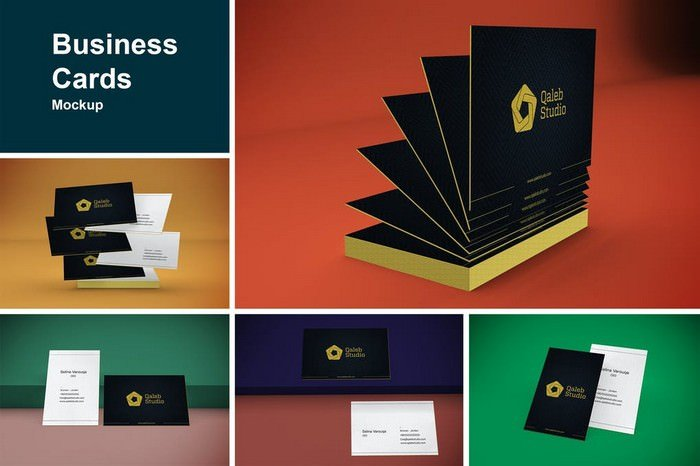 5 Business Cards Mockup