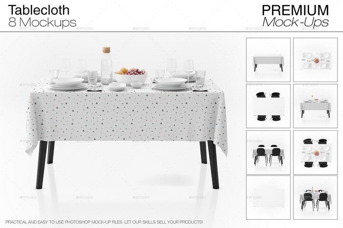 Dinner Table Cloth PSD Mock-up Set
