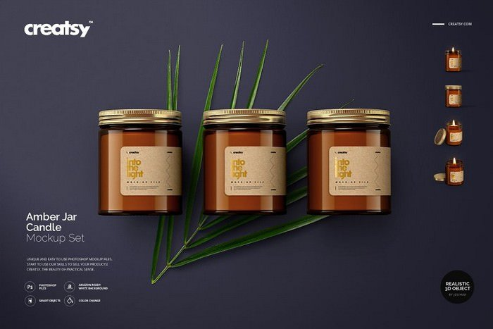 Amber Jar Candle Mockup Set