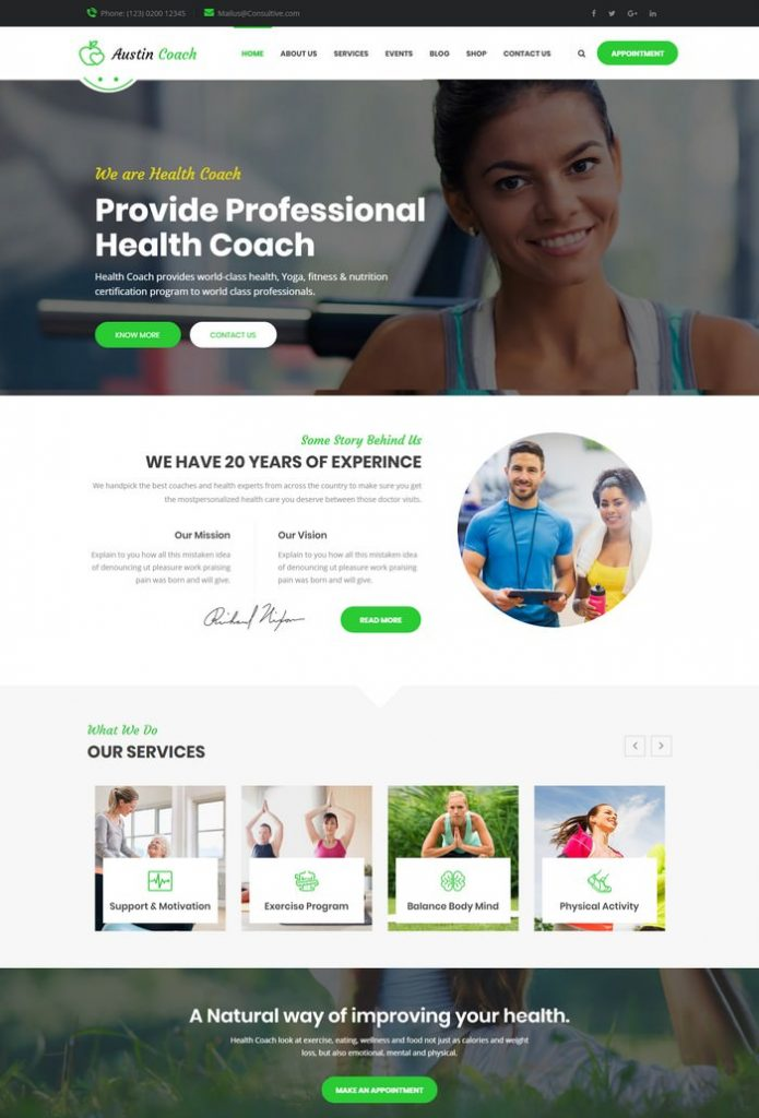 Austin Coach - Joomla Template for Health, Fitness, Personal Life Coaching