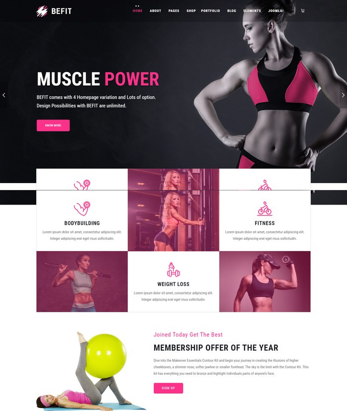 BeFit - Gym & Fitness Joomla Template