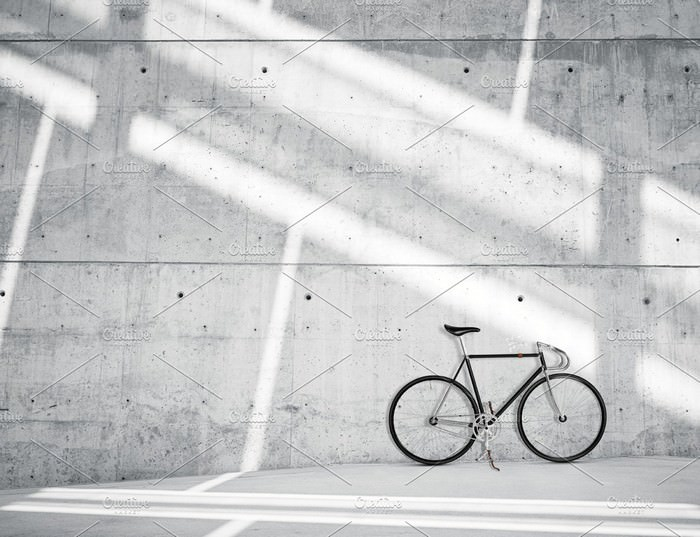 Bicycle on Concrete Background