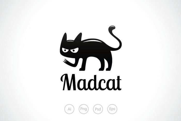 Black Mad Cat Logo