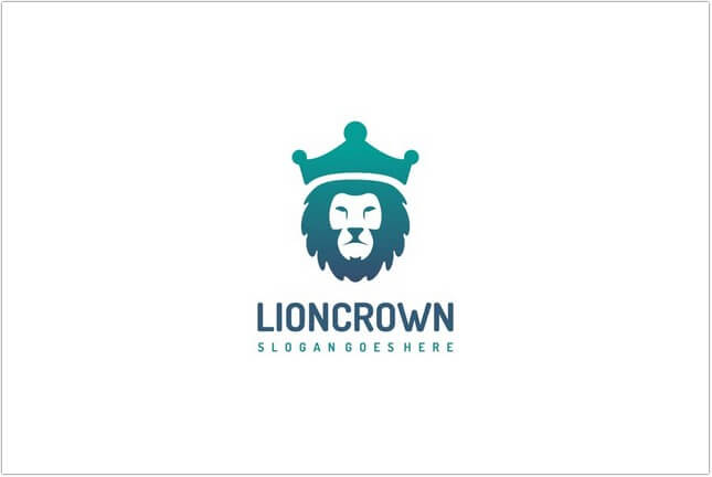 Animal, Colorful and Abstract Lion Crown Logo