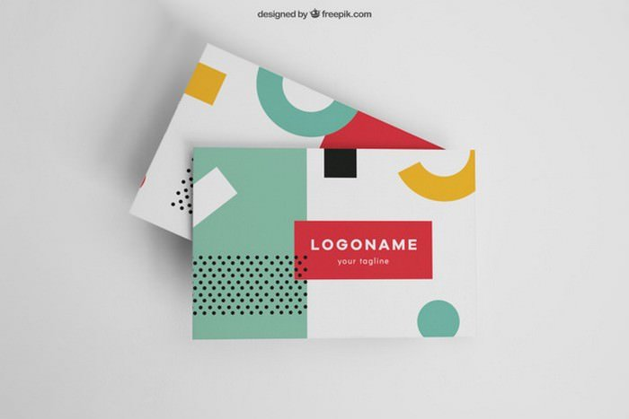 Colorful Modern Business Card Mockup PSD