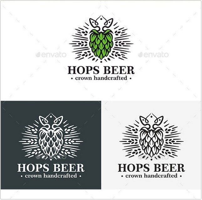 Hops Beer Crown Logo