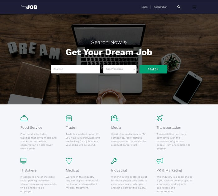 Dream Job Job Portal Multipage HTML5 Website Template