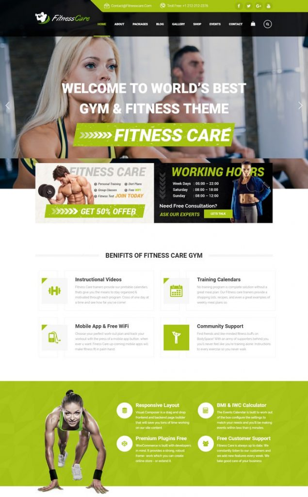 Fitness Care - Responsive Joomla Template for Gym