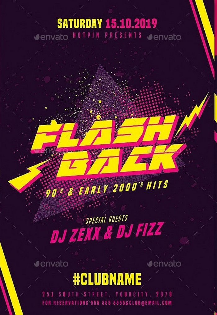 Flashback Retro Party Flyer