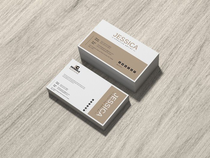 Brand Business Card Mockup on Wood