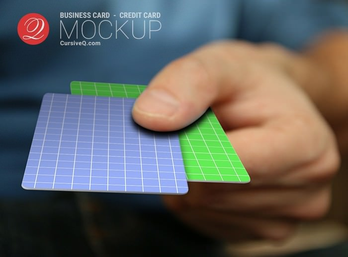 Business Card Credit Card Hand Mockup