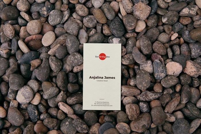 Business Card on Stones Mockup PSD