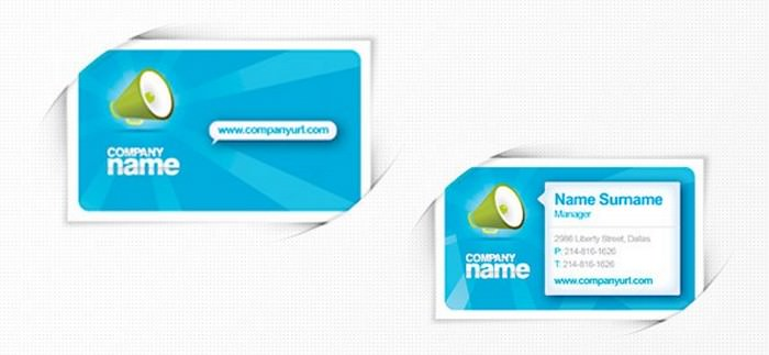 PSD Business Card Template in Blue Colors