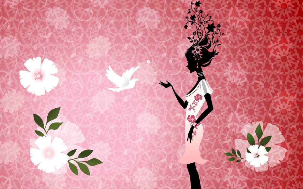 Girly, flowers, Bird Graphic Background