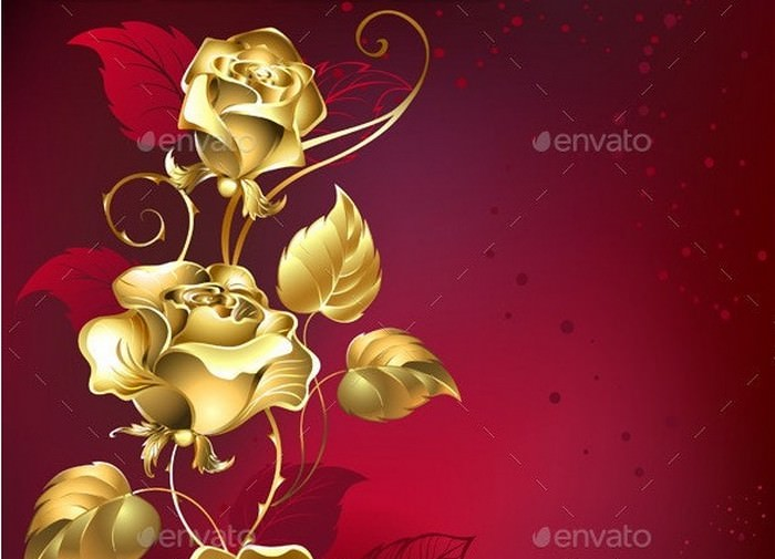 Gold Roses on Red Background