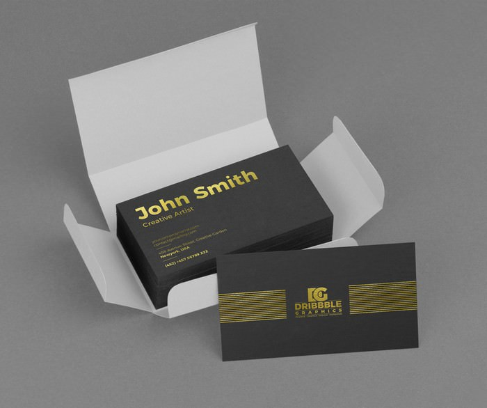 Golden Foil Business Card Mockup