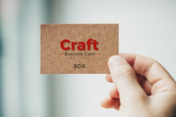 Holding Craft Business Card Mockup