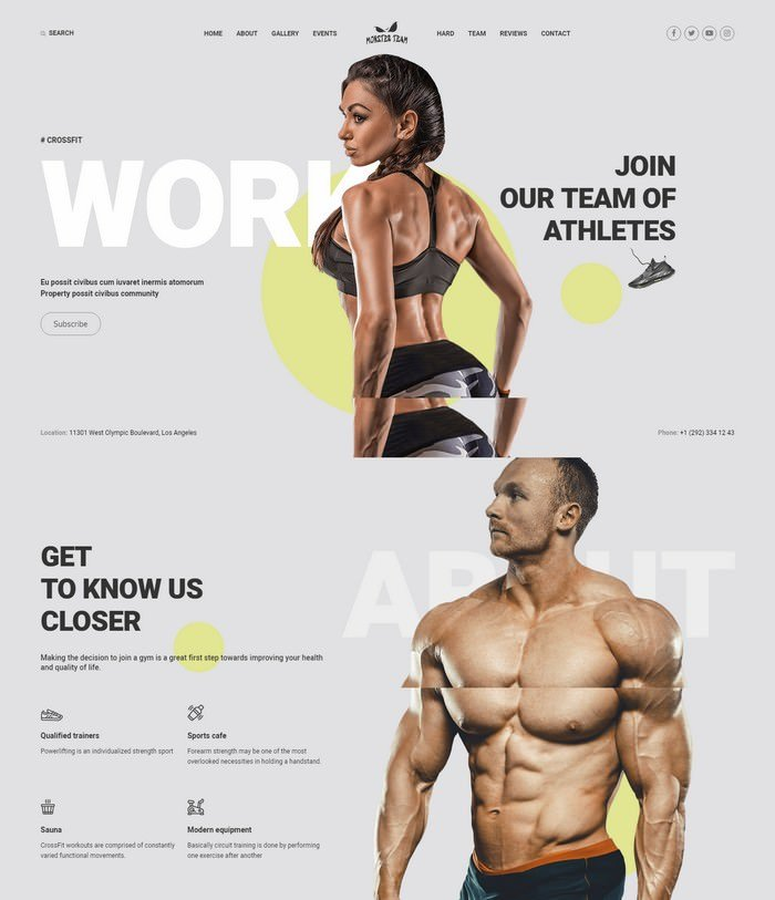 Monster Team - CrossFit Sticky Menu Bright Joomla Template